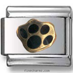 Dog Black Paw Italian Charm